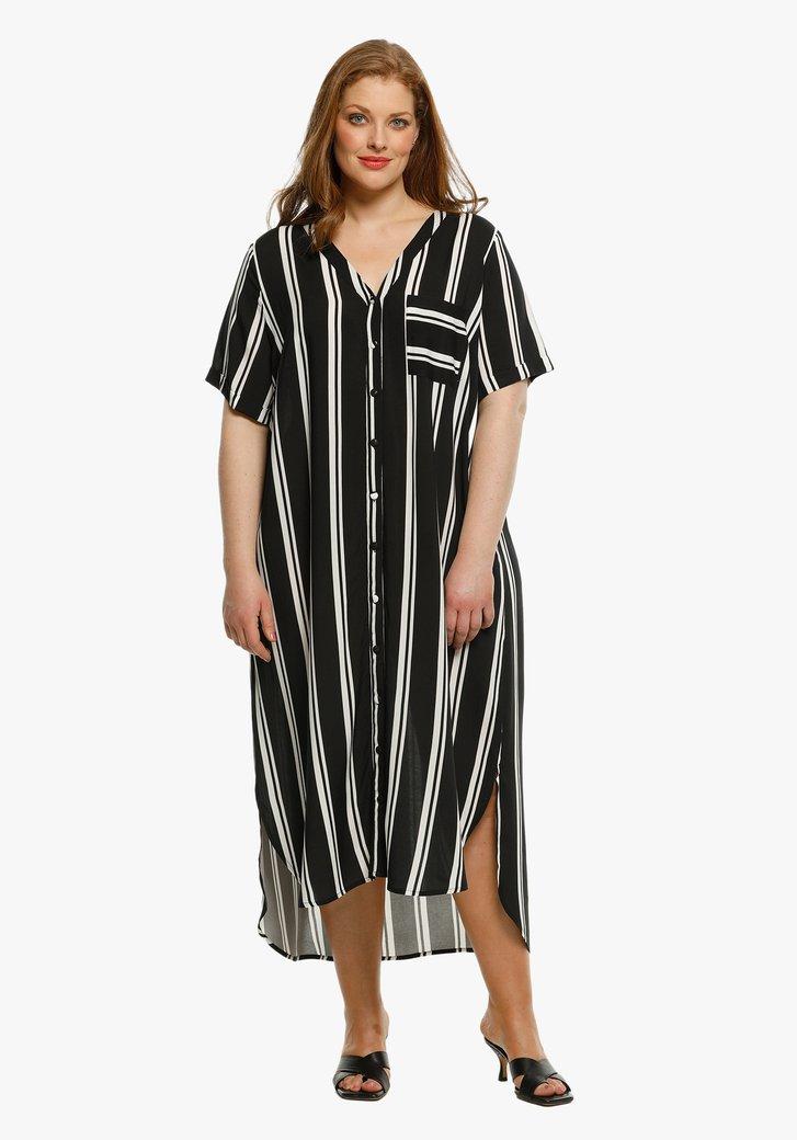 Lang zwart kleed met witte strepen