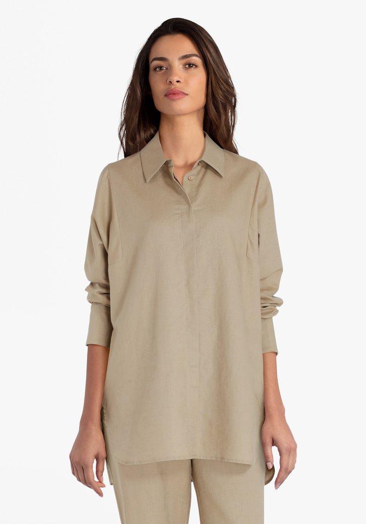 Lange ecru blouse in linnen en katoen