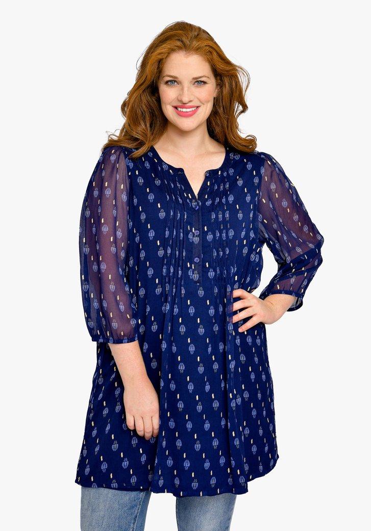 Lange navy blouse met print