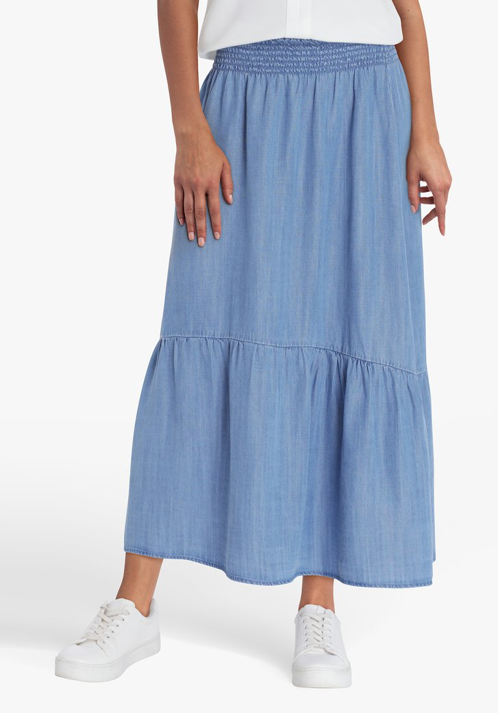 Lange rok met jeans look