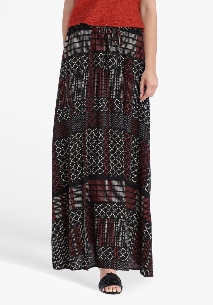 Lange zwarte rok met print en split