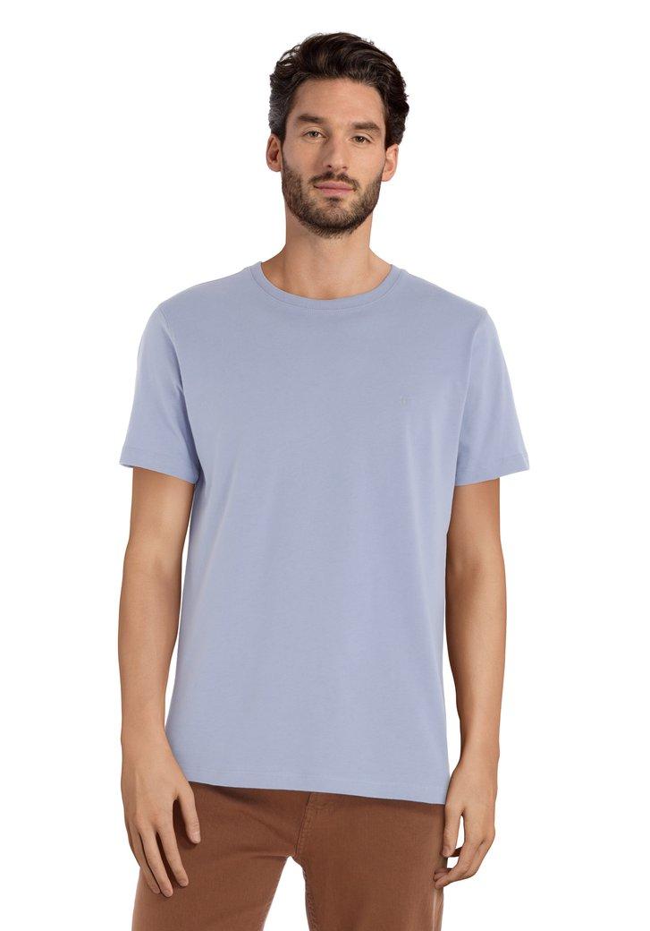 Lichblauw katoenen T-shirt met ronde geribde hals