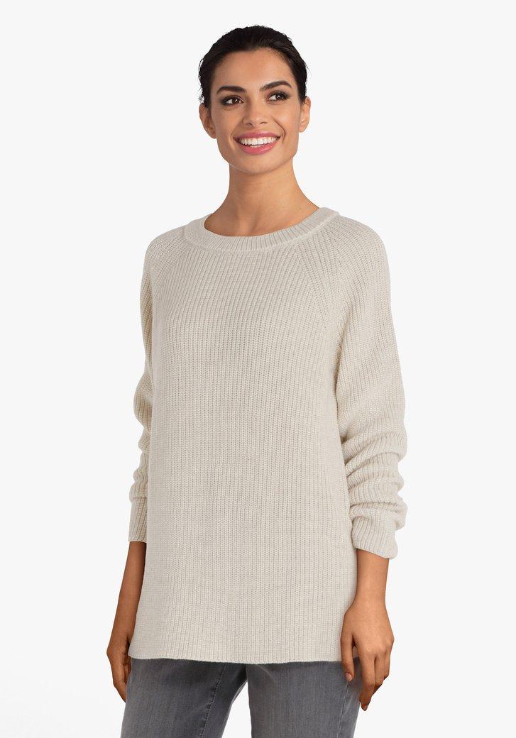 Lichtbeige gebreide trui