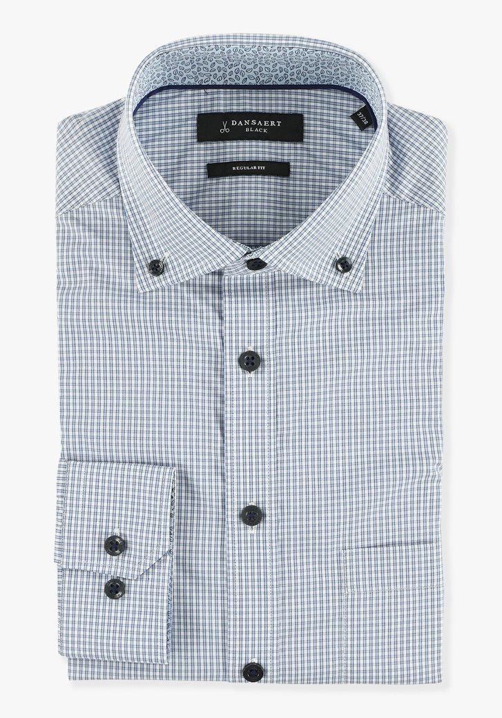 Lichtblauw geruit hemd - regular fit