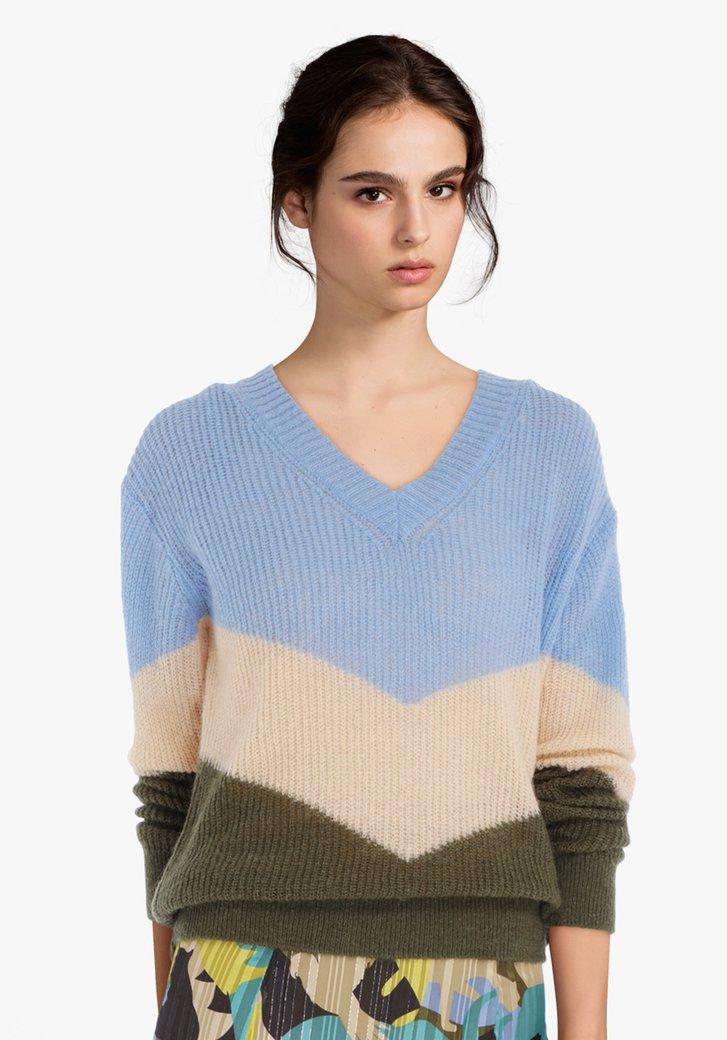 Lichtblauw gestreepte trui met colorblocking