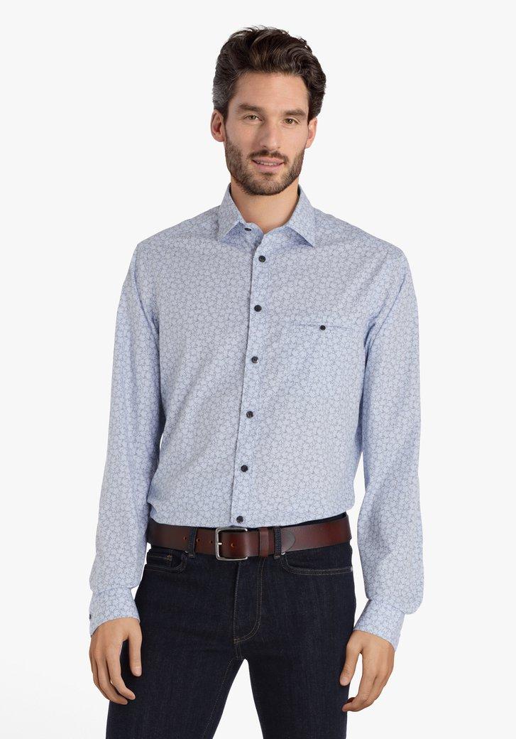 Lichtblauw hemd met bladerprint - regular fit