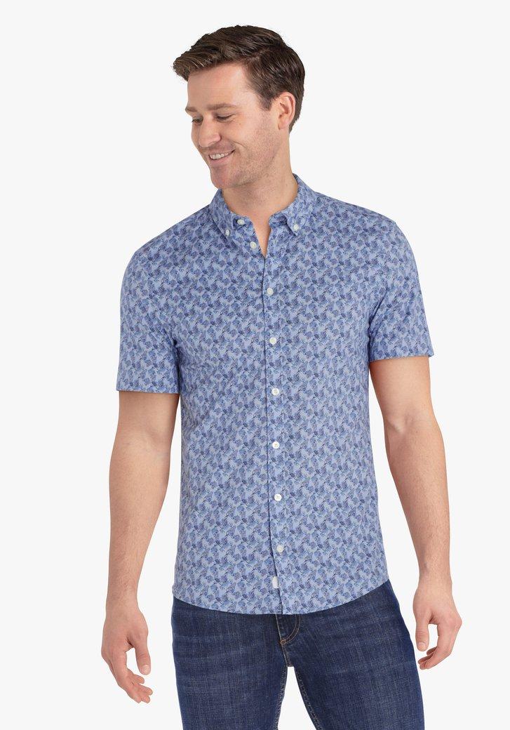 Lichtblauw hemd met bladerprint - slim fit
