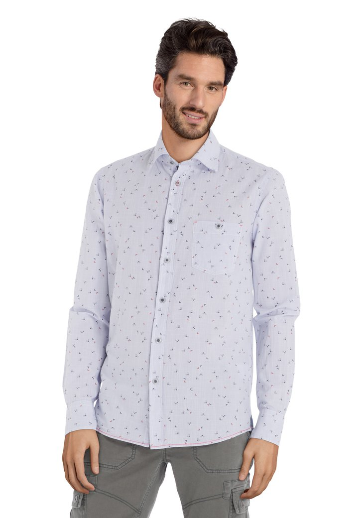 Lichtblauw hemd met blauwe print – regular fit