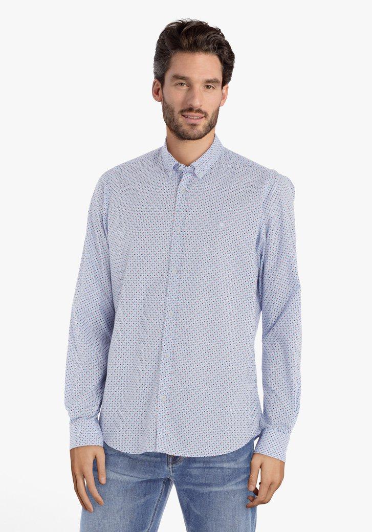 Lichtblauw hemd met blokjes – regular fit