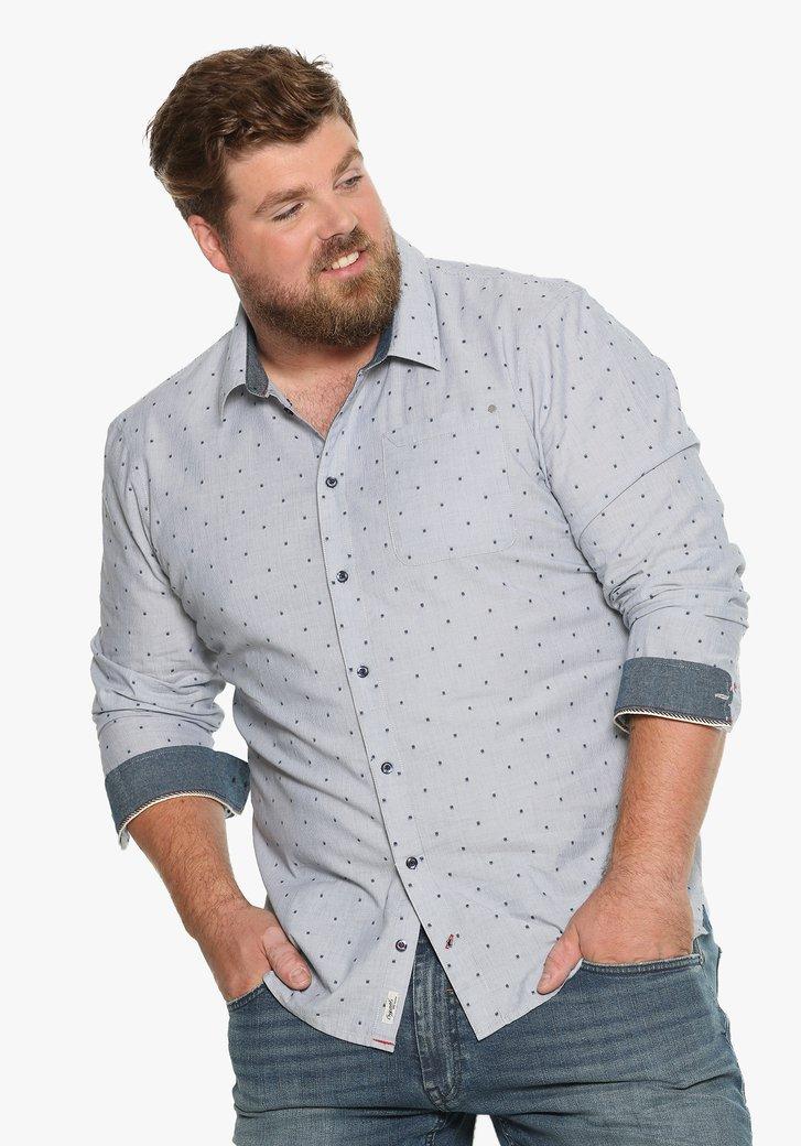 Lichtblauw hemd met blokjes