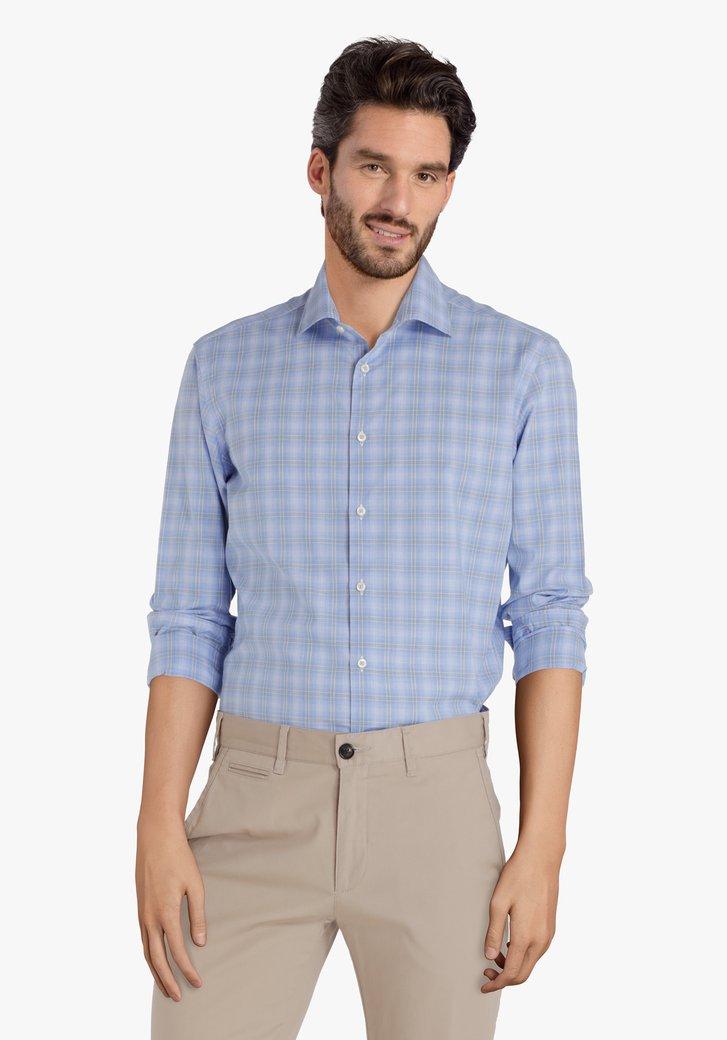 Lichtblauw hemd met fijne groene ruiten - slim fit