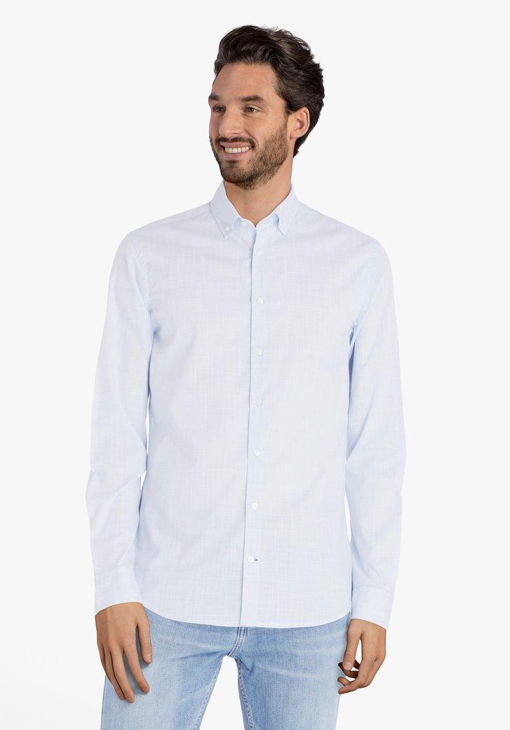 Lichtblauw hemd met fijne ruiten - slim fit