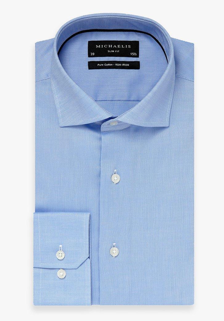 Lichtblauw hemd met fijne structuur - slim fit