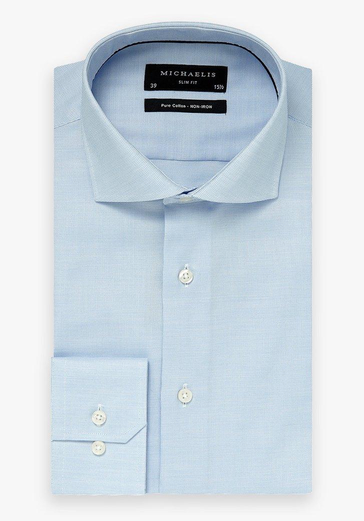 Lichtblauw hemd met fijne structuur- slim fit