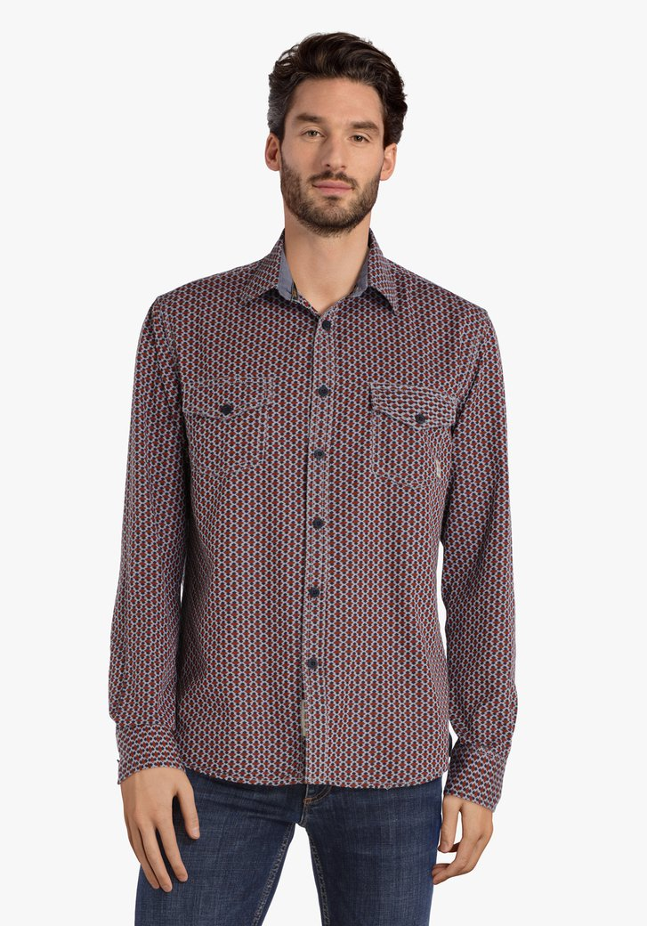 Lichtblauw hemd met geometrische print