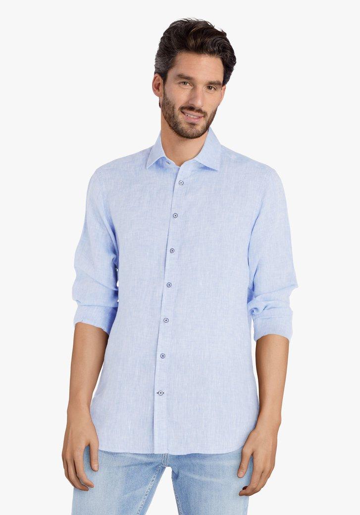 Lichtblauw hemd met linnen - regular fit