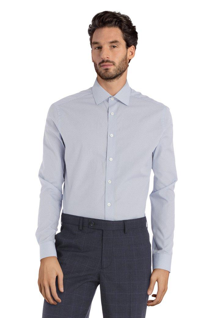 Lichtblauw hemd met miniprint - regular fit