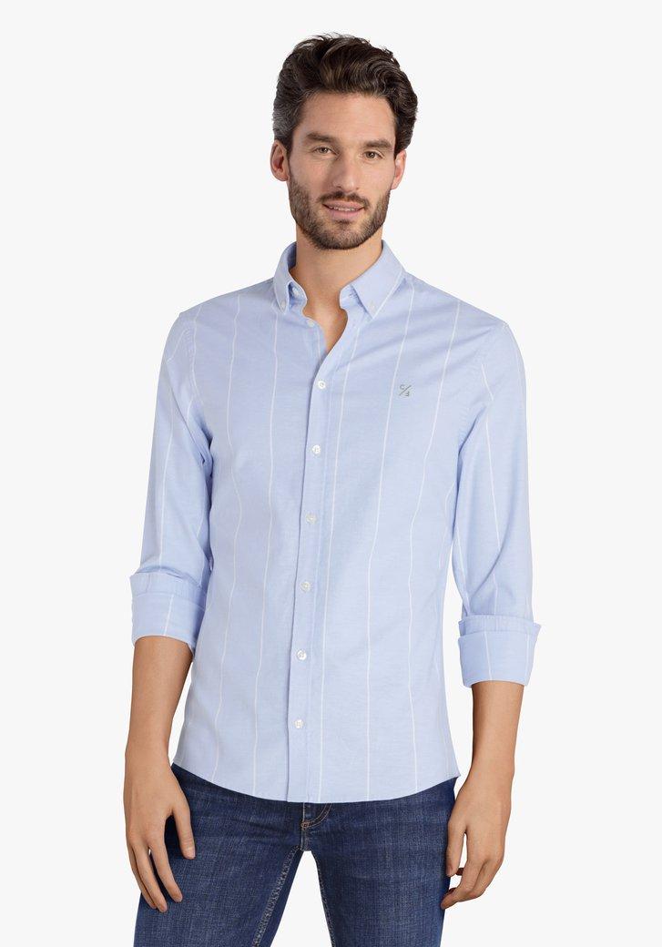 Lichtblauw hemd met streepjes - slim fit
