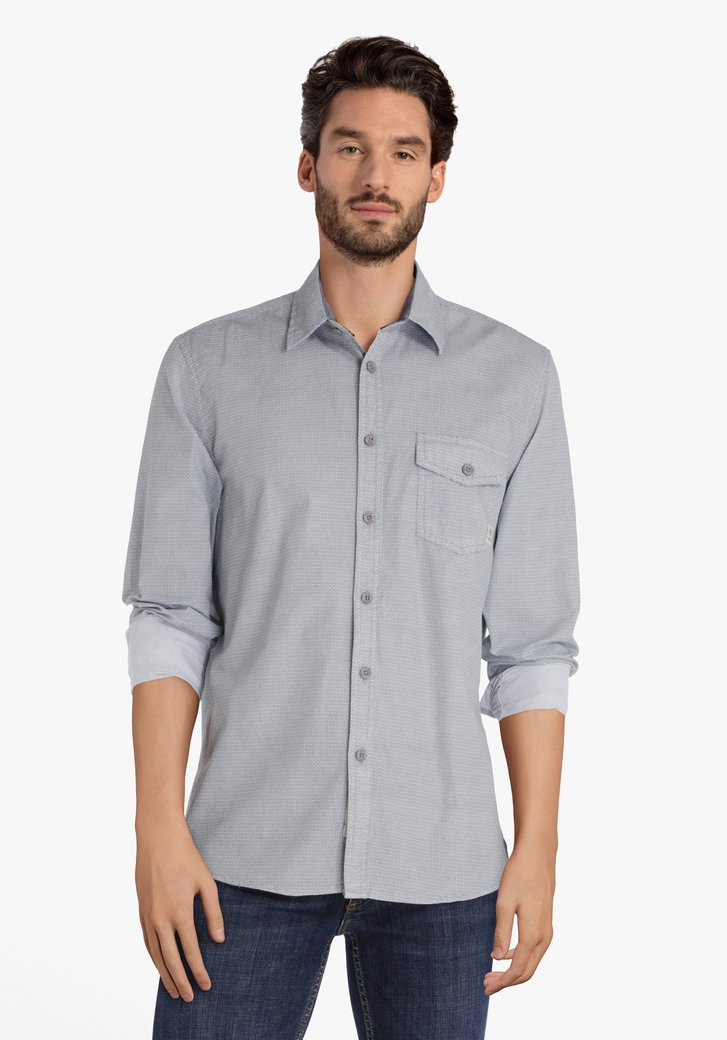 Lichtblauw hemd met subtiel patroon - regular fit