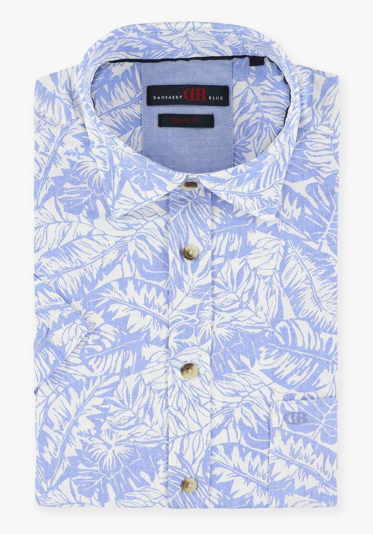 Lichtblauw hemd met tropische print - regular fit