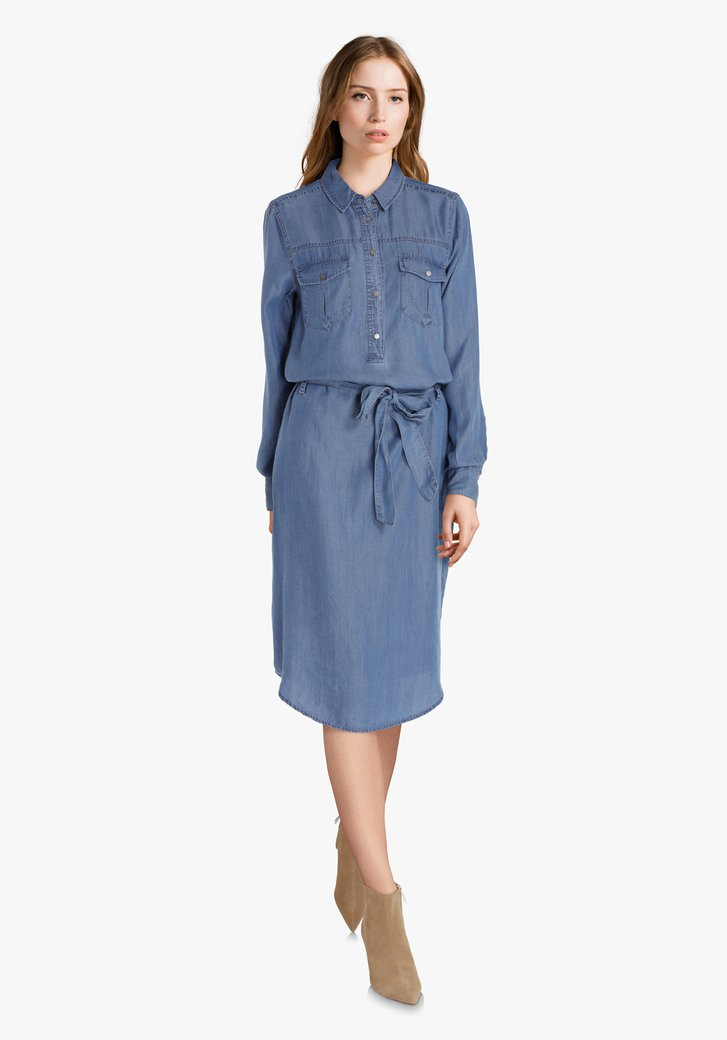 Lichtblauw jeanskleed in lyocell