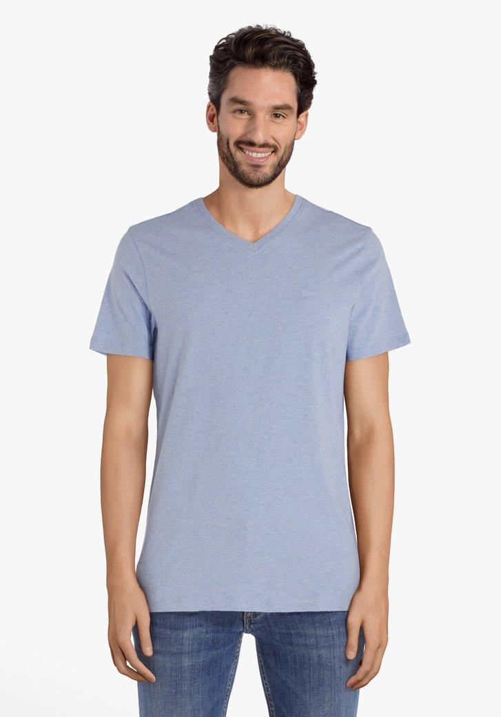 Lichtblauw katoenen T-shirt met V-hals