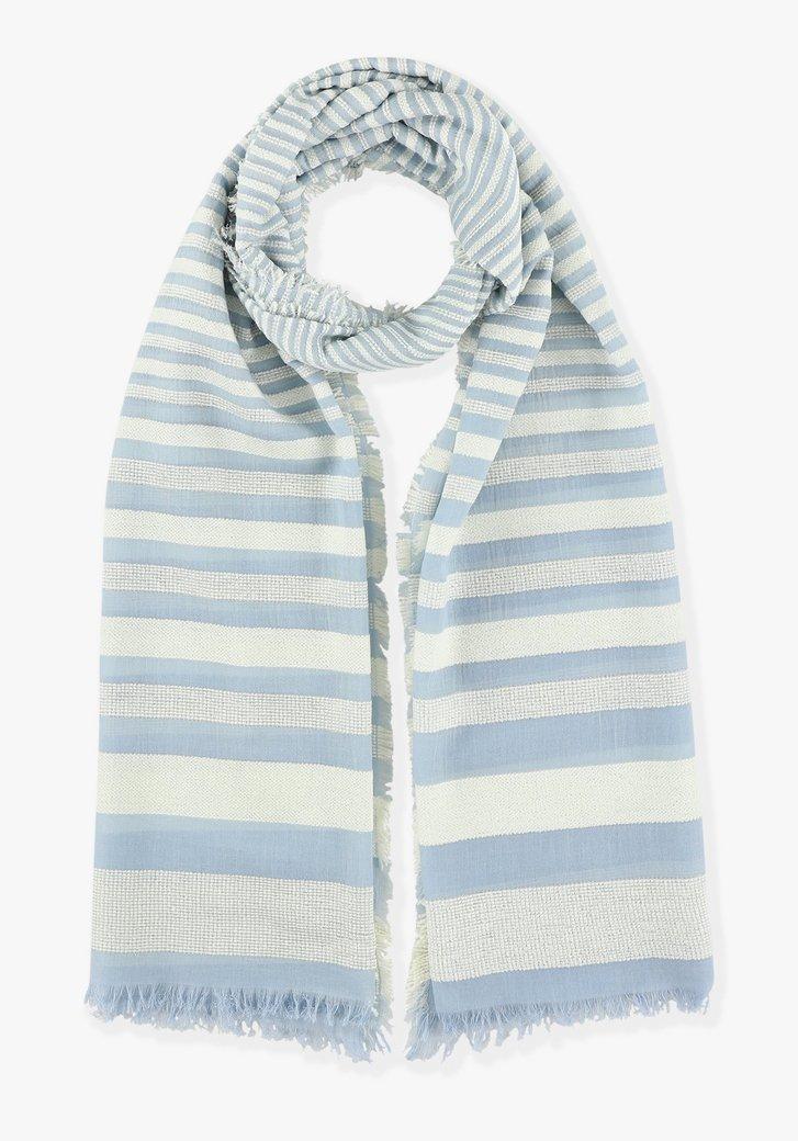Lichtblauw-wit gestreepte sjaal