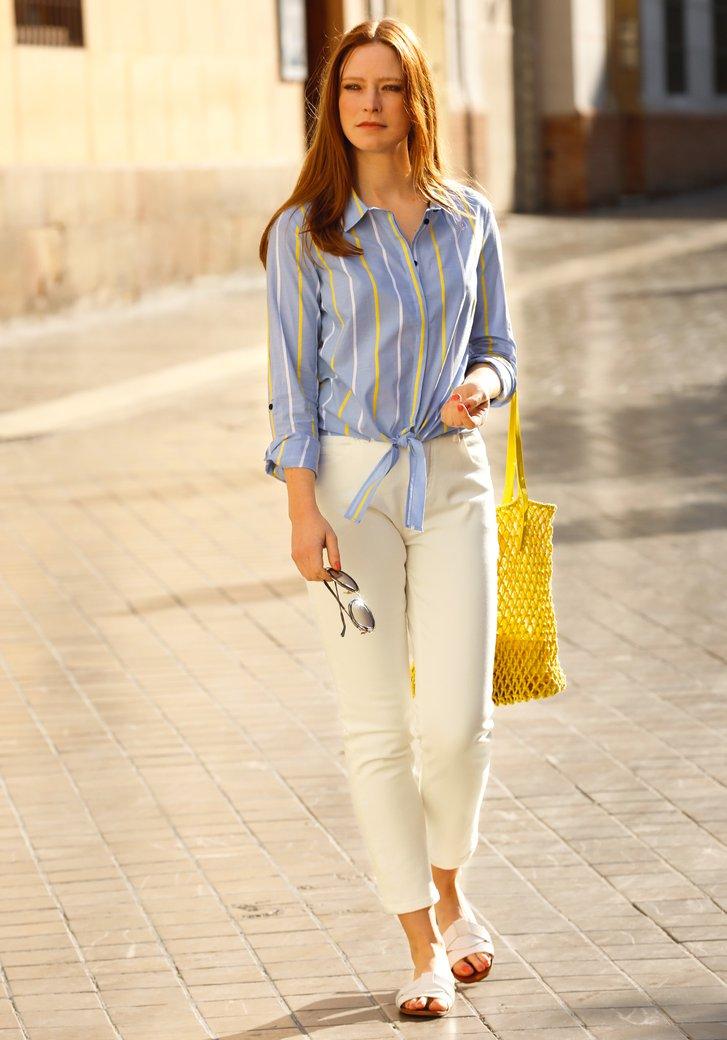 Lichtblauwe blouse met wit-gele strepen