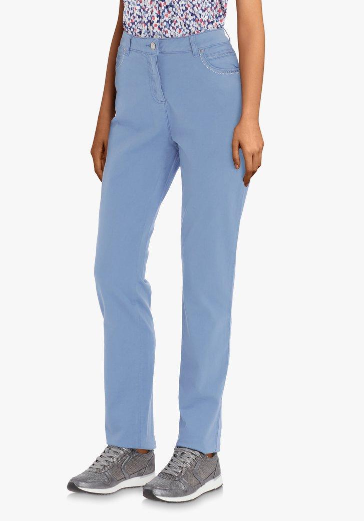 Afbeelding van Lichtblauwe broek met strass – straight fit