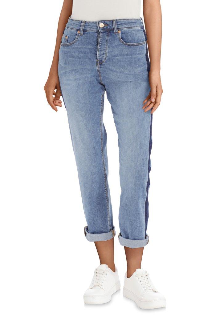 Lichtblauwe jeans met streep - straight fit