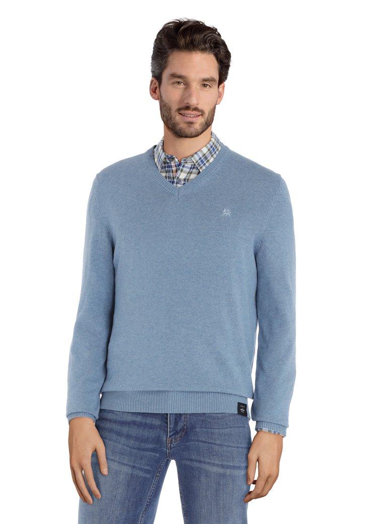 Lichtblauwe katoenen trui met geribde V-hals