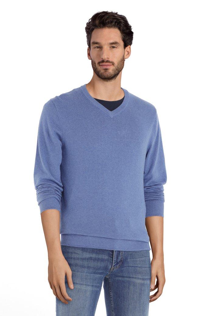 Afbeelding van Lichtblauwe katoenen trui met geribde V-hals