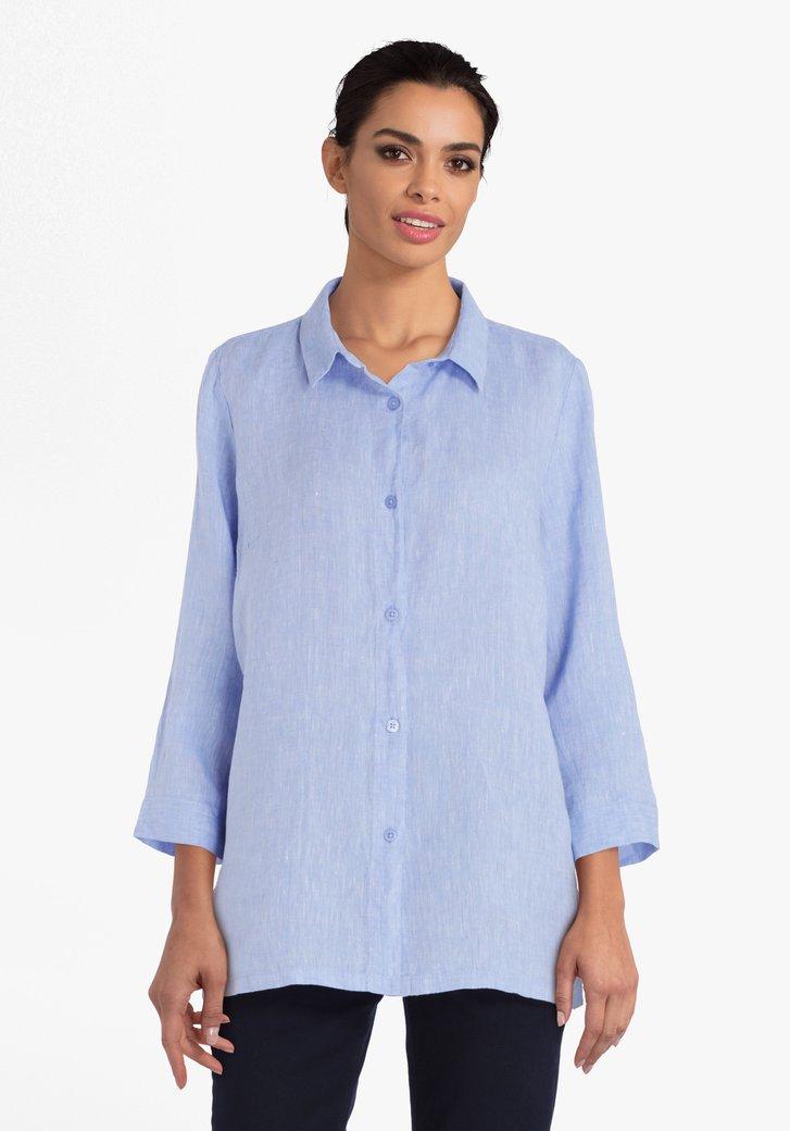 Lichtblauwe linnen blouse