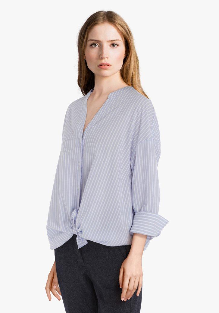 Lichtblauwe oversized katoenen blouse