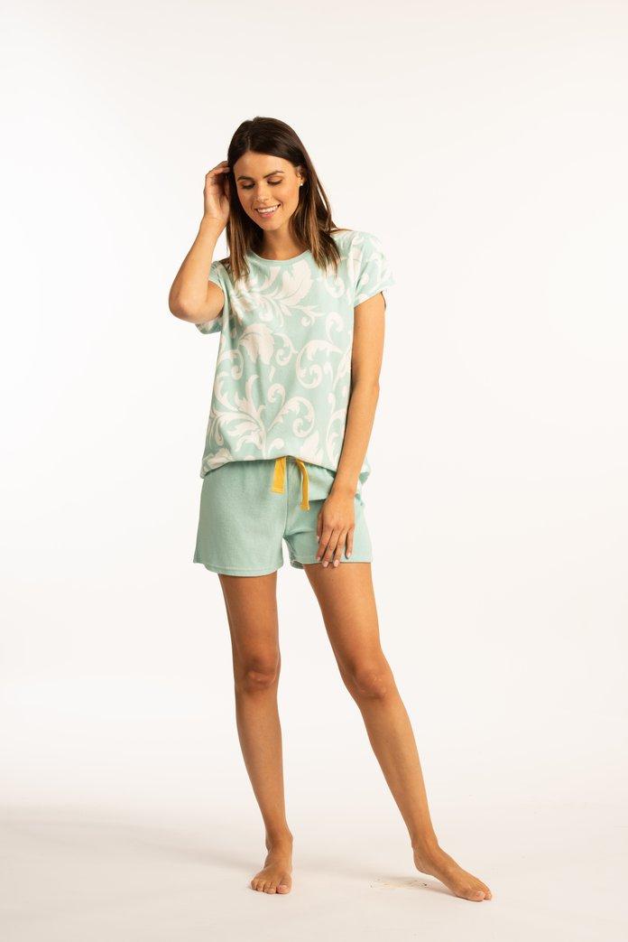 Lichtblauwe pyjama met witte print
