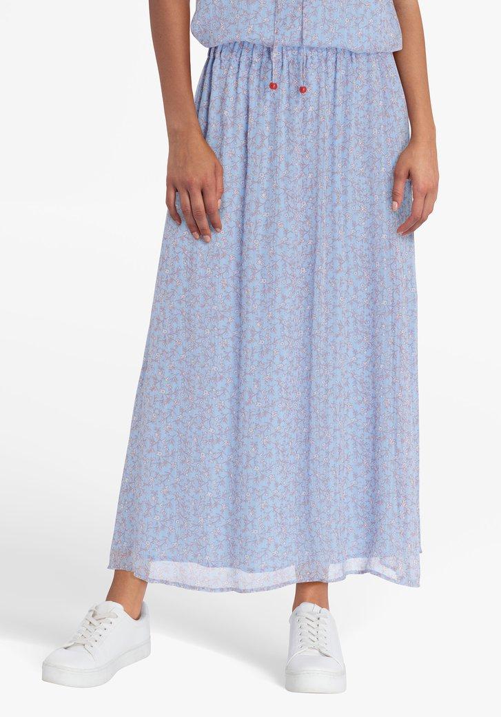 Lichtblauwe rok met oranje bloemenprint