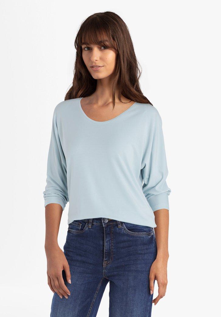Lichtblauwe T-shirt met 3/4 mouwen