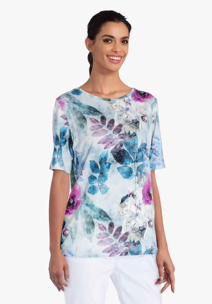 Lichtblauwe T-shirt met botanische print