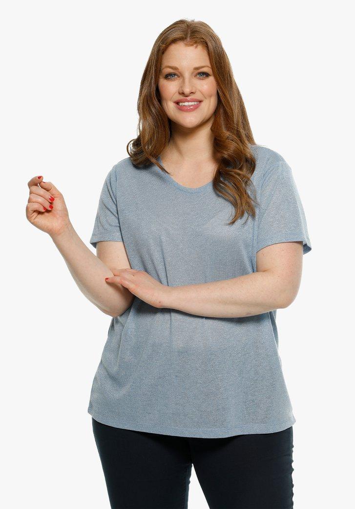 Lichtblauwe T-shirt met glitterdraad