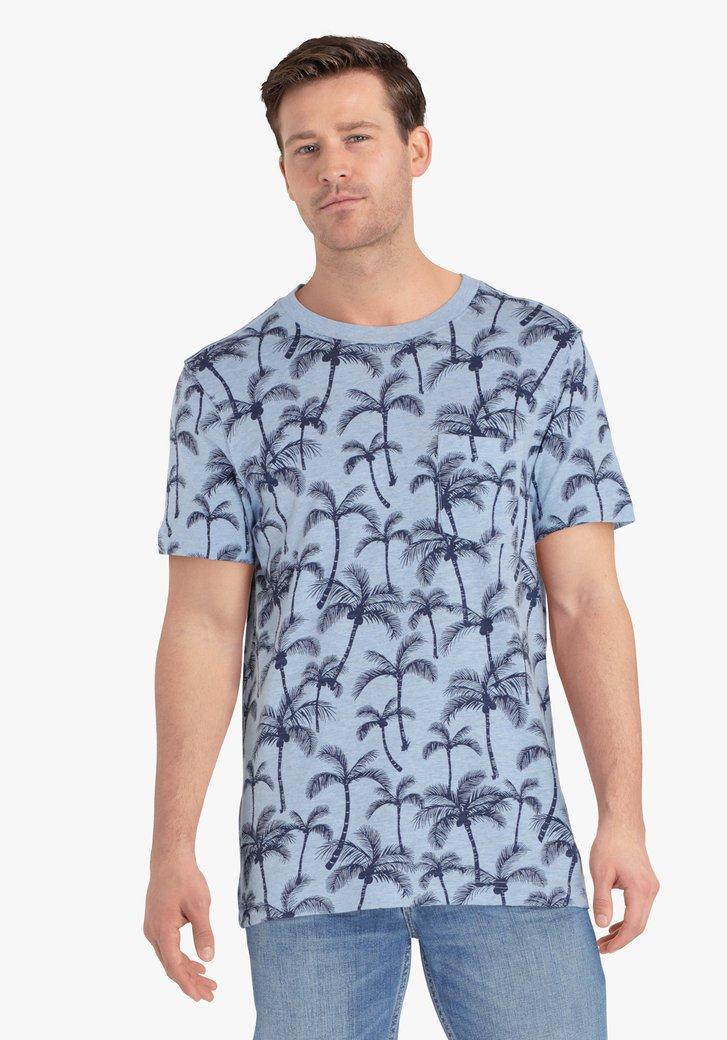 Lichtblauwe T-shirt met tropische print