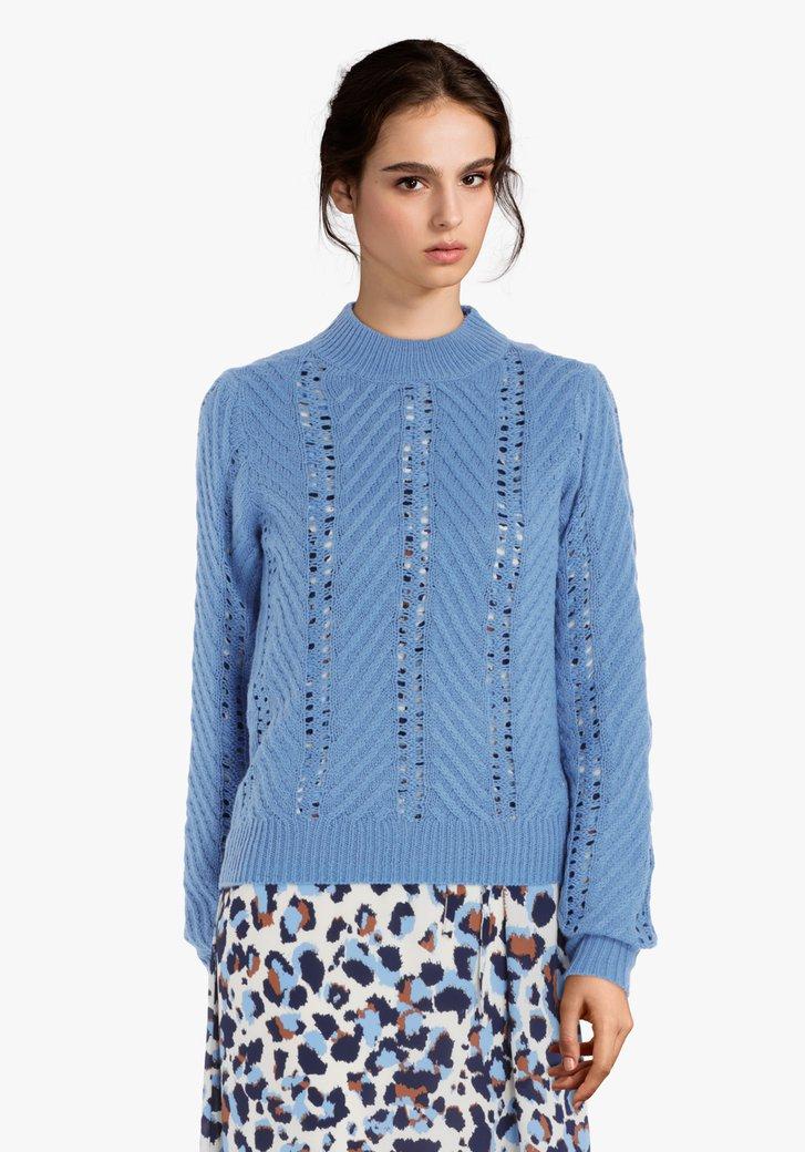 Lichtblauwe trui met ajour