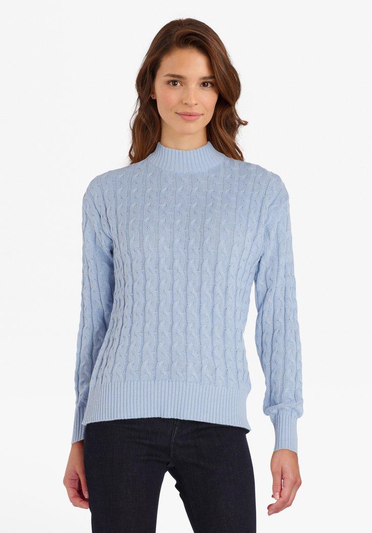Lichtblauwe trui met opliggend motief