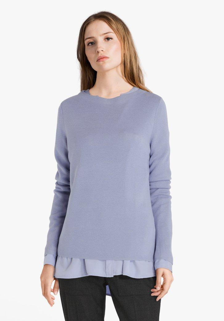 Lichtblauwe trui met ronde hals