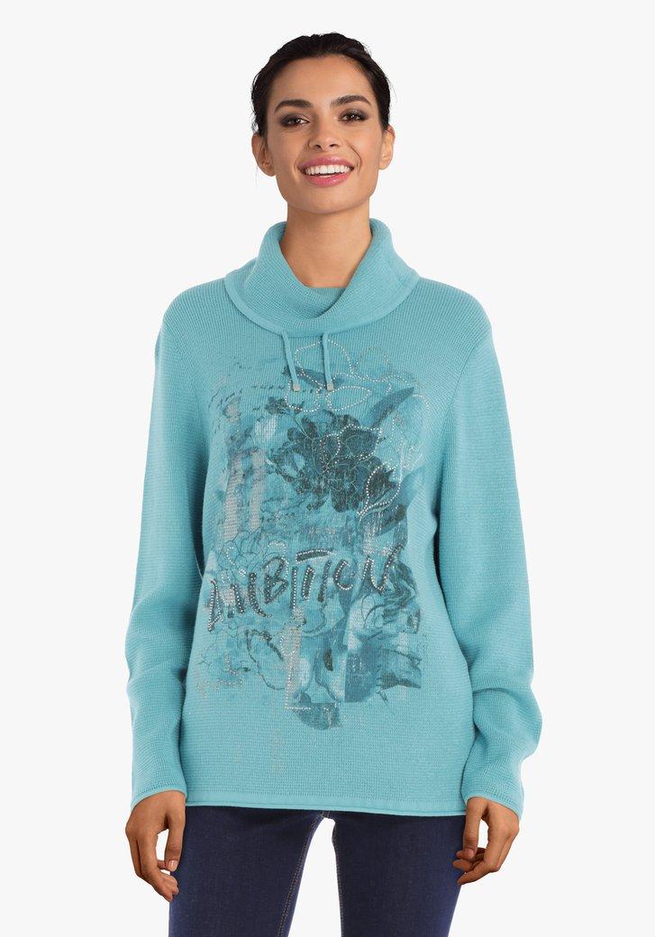 Afbeelding van Lichtblauwe trui met strass