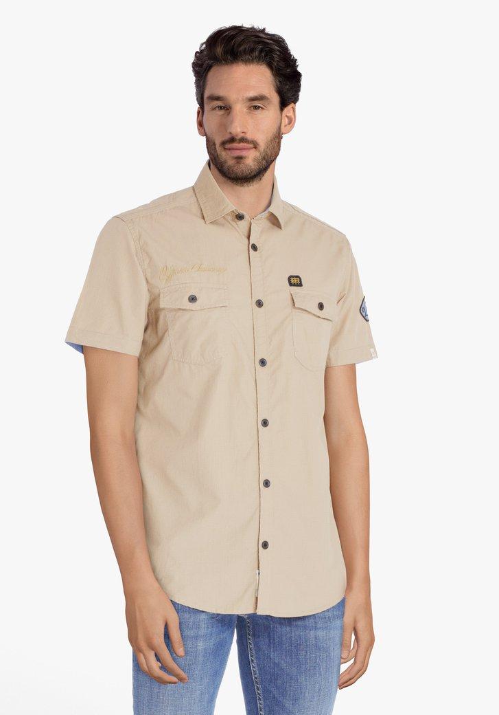 Lichtbruin hemd met 2 borstzakjes - regular fit