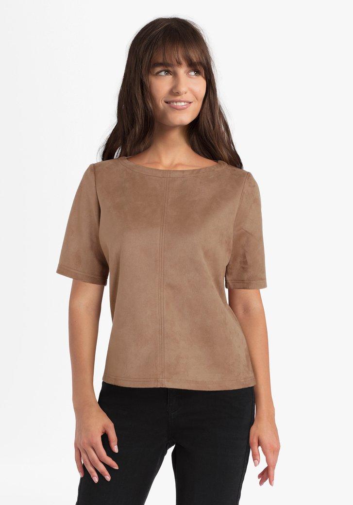 Lichtbruine blouse in suède