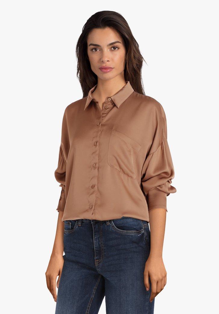 Lichtbruine blouse in viscose