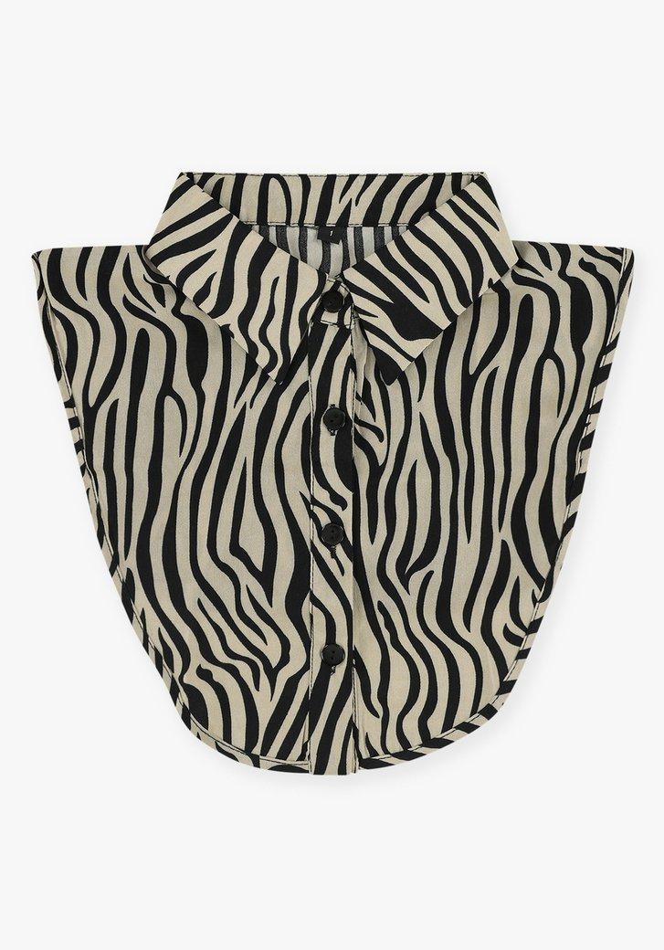 Lichtbruine kraag met zebraprint