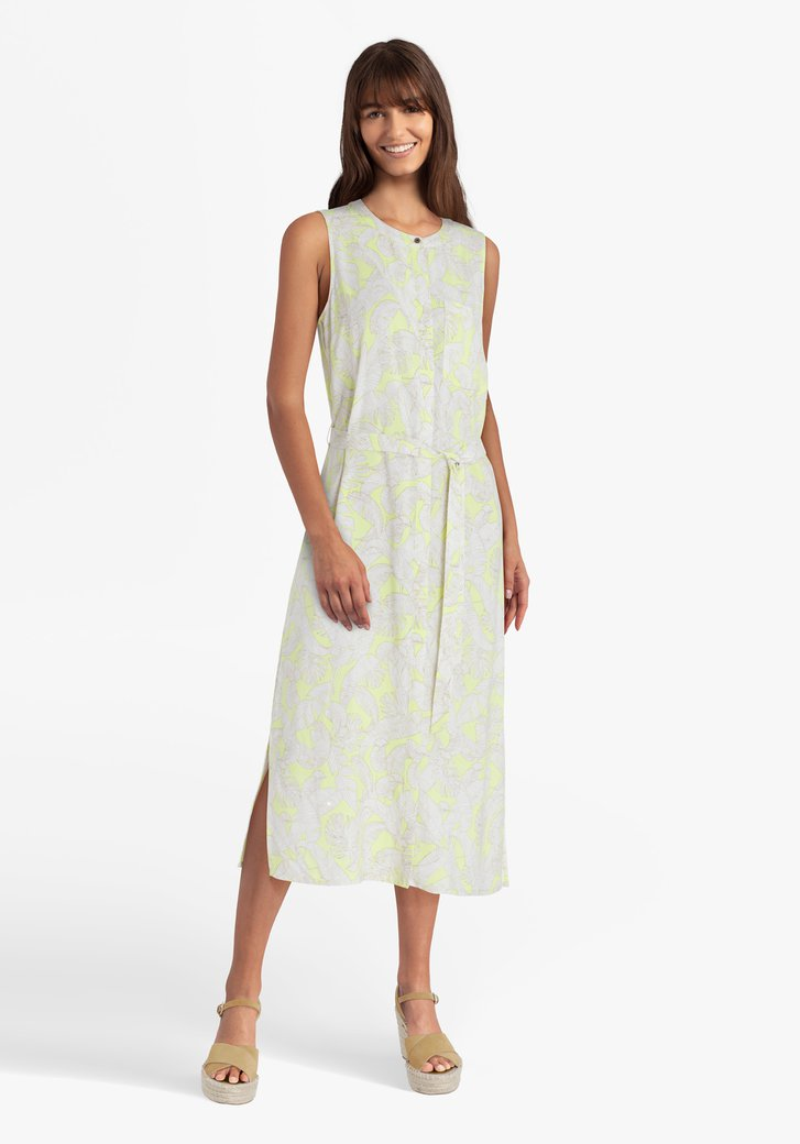 Lichtgeel kleed met witte bladerprint