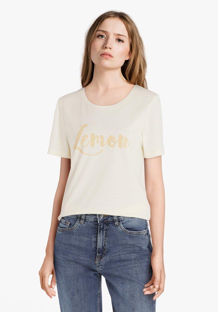 """Lichtgeel T-shirt met opschrift """"Lemon"""""""